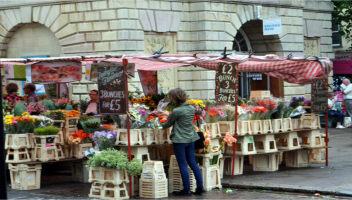 The market at historic Bury St Edmunds